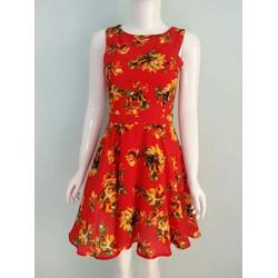Đầm voan họa tiết 2 lớp - Skinny