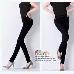 Quần jean đen lưng cao 1 nút cao cấp