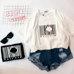 Áo thun cotton 4 chiều - In mã vạch - hình thật
