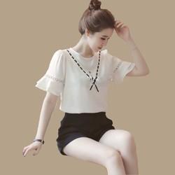 HÀNG CAO CẤP LOẠI I - Set bộ áo voan tay loe viền ren + Quần short