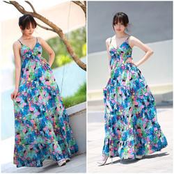 SỈ - LẺ ĐẦM THIẾT KẾ : Đầm maxi đắp chéo ngực hoa xanh nhỏ