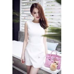 Đầm trắng chữ A đơn giản thiết kế trẻ trung như Ngọc Trinh M441