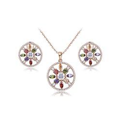 Bộ trang sức mạ vàng dáng vòng tròn đính đá pha lê thương hiệu ROXI