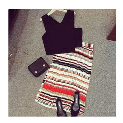 Set áo + váy dập ly