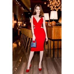 Đầm đỏ ôm body hở lưng cutout cực tôn dáng như Ngọc Trinh M887