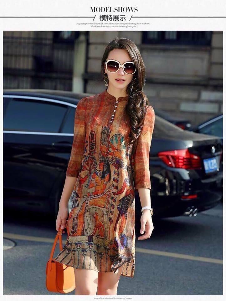 Đầm suông họa tiết ai cập 1