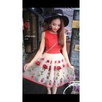 Đầm ren phối váy hoa