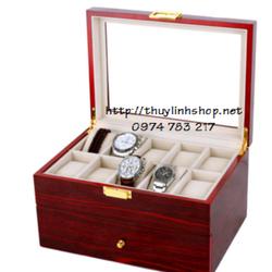 Hộp đựng đồng hồ loại 20 chiếc, bằng gỗ sơn piano