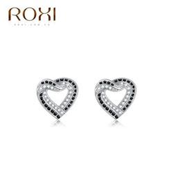 Bông tai trái tim đính đá trắng đen thương hiệu ROXI