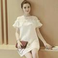 Đầm suông trắng bèo dễ thương