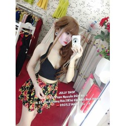 Set áo cúp yếm croptop + váy xòe hoa