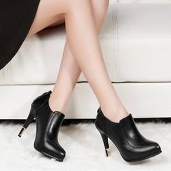 Giày bốt cổ thấp gót nhọn phong cách Hàn Quốc B007