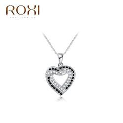 Dây chuyền bạc trái tim đính hạt pha lê trắng đen thương hiệu ROXI