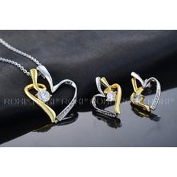 Dây chuyền tim vàng trắng đính đá pha lê thương hiệu ROXI