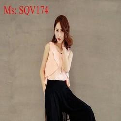 Sét áo sát nách vạt bèo xinh đẹp và quần ống suông thời trang SQV174