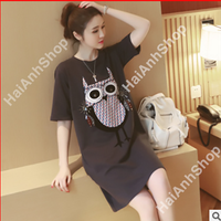 Đầm bầu họa tiết cú mèo
