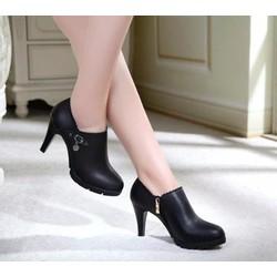 Giày bốt nữ cao gót cổ thấp phong cách Hàn Quốc B017