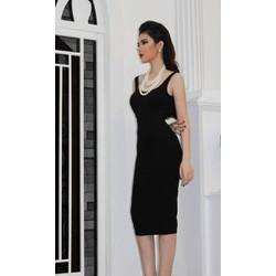 Đầm hở lưng màu đen thiết kế đơn giản cực tôn dáng M3890