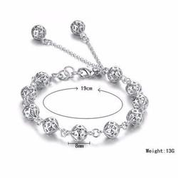 Lắc vòng tay inox nữ kiểu chuỗi bi mẫu mới đẹp giá rẻ - LT063