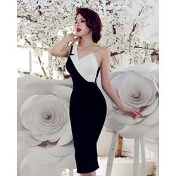 Đầm ôm body trắng đen thiết kế sang trọng, tinh tế M3888