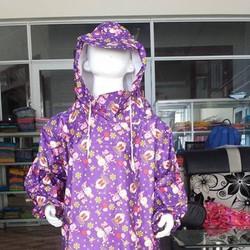 Áo mưa bít em bé | áo vải dù không xẻ tà trẻ em BB.EB8.PN. đôi thỏ tím