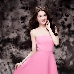 Đầm hồng xòe thiết kế cúp ngực xinh đẹp như Ngọc Trinh DXV13