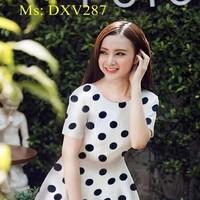 Đầm xòe tay con vải chấm bi đen xinh đẹp như phương trinh DXV287
