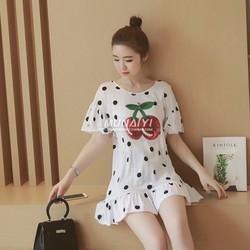 HÀNG NHẬP CAO CẤP - Đầm suông Voan Bi tay loe lai Bèo Họa Tiết Cherry