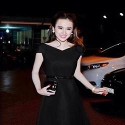 Đầm xòe dự tiệc tay con cổ V xinh đẹp như Phương Trinh DXV224