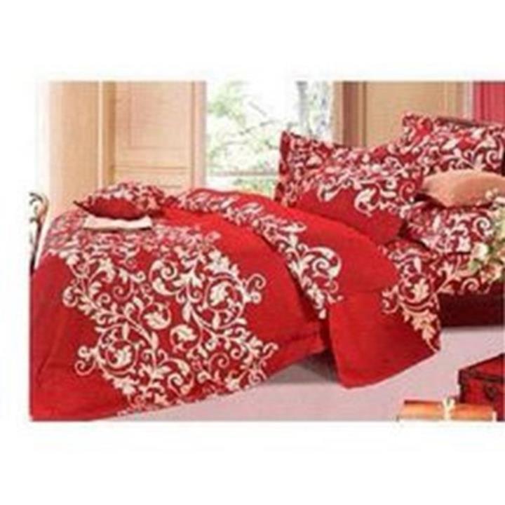 Bộ chăn  drap coton cao cấp hoa móc đỏ 1