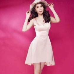 Đầm hồng xoè cổ chữ V thời trang dễ thương DXV59