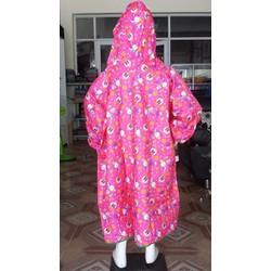 Áo mưa bít em bé   áo vải dù không xẻ tà trẻ em BB.EB8.PN.thỏ hồng