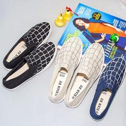 Giày lười sọc caro nữ thời trang năng động, trẻ trung SL290