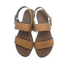 Sandal bệt Zara da thật màu nâu bò
