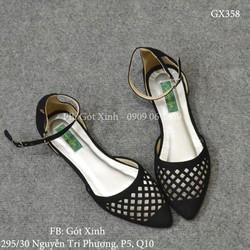 Giày búp bê mũi nhọn laser cột dây đen-GX358