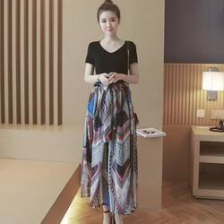 Hàng nhập - Đầm phối màu chân váy in họa tiết size M, L, XL
