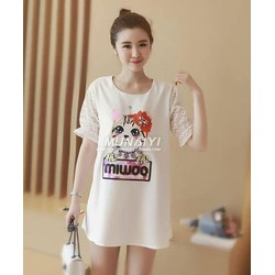 Đầm suông tay phối ren in họa tiết - 66140.A