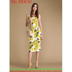 Đầm body 2 dây họa tiết hoa vàng nổi bật trẻ trung