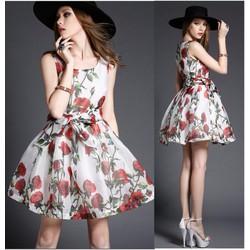 Đầm xoè in họa tiết hoa hồng trẻ trung,cột eo nơ sát nách-D2360