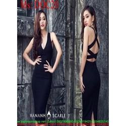 Đầm body đen đan chéo dây sau sành điệu cá tính