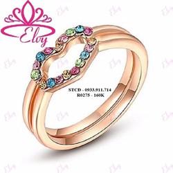 Nhẫn 2 chiếc mạ vàng 18K đính đá màu hình trái tim