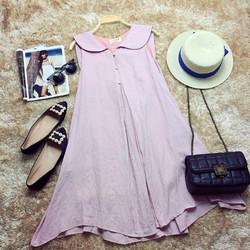 Đầm suông vải lanh cổ sen- Đầm bầu
