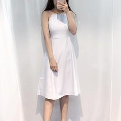 Đầm maxi sọc xanh nhạt
