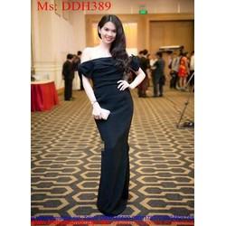 Đầm dự tiệc bẹt vai phối nơ xinh đẹp sang trọng DDH389