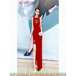 View  Đầm dạ hội xẻ đùi kiểu sát nách họa tiết hoa xinh đẹp DDH372