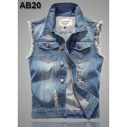 Áo khoác jeans sát nách + rách đẹp AB20