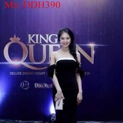 Đầm dự tiệc cúp ngực phối viền trắng sành điệu xinh đẹp DDH390