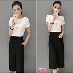 Set nguyên bộ áo phối lai đen quần ống suông VN-VJ302