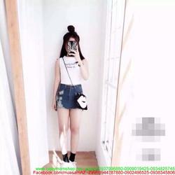 Chân váy jean chữ A kiểu giả quần xước 1 bên sành điệu CVJ22