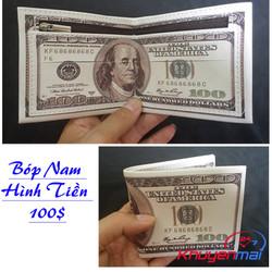 Bóp Ví Nam Hình Tờ Tiền 100 Đô Da Chất LOẠI NHIỀU NGĂN